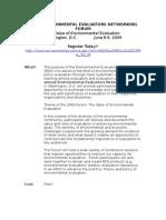 2009 Environmental Evaluators Networking Forum_register