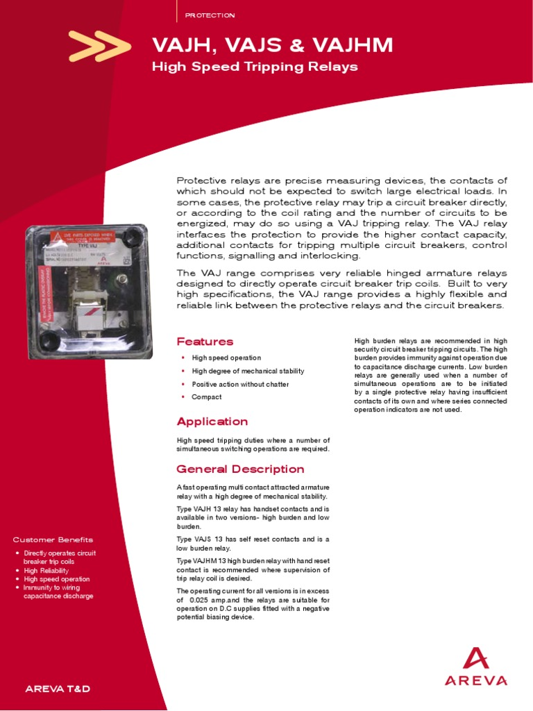 VAJ Manual Relay Electrical Equipment - Protection relays and circuit breakers