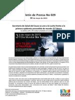Boletín 029_ Secretaría de Salud del Cauca se une a la Lucha frente a la primera epidemia prevenible de mundo_ El Tabaco