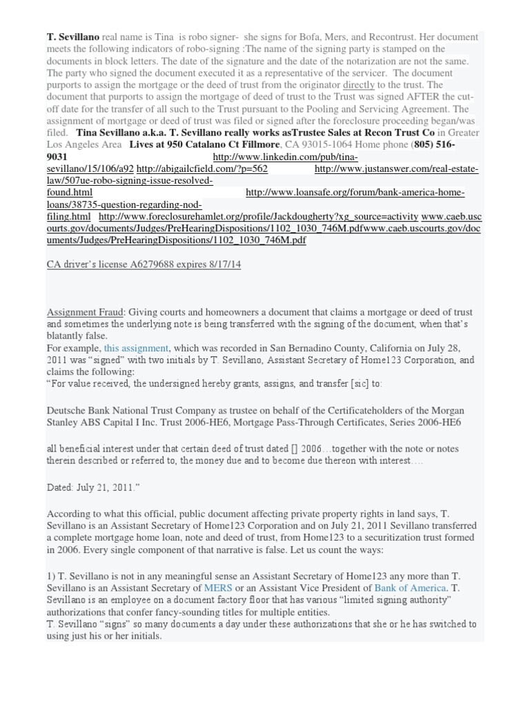 t Sevillano Robo Signer Info | Deed Of Trust (Real Estate) | Trust Law