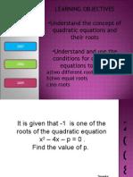 Quadratics Equations 0508
