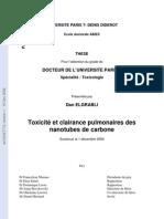 Elgrabli D. Toxicité et clairance pulmonaires des nanotubes de carbone