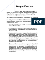 RFP Disqualification Letter
