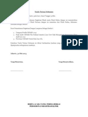 Contoh Surat Tanda Terima Dokumen