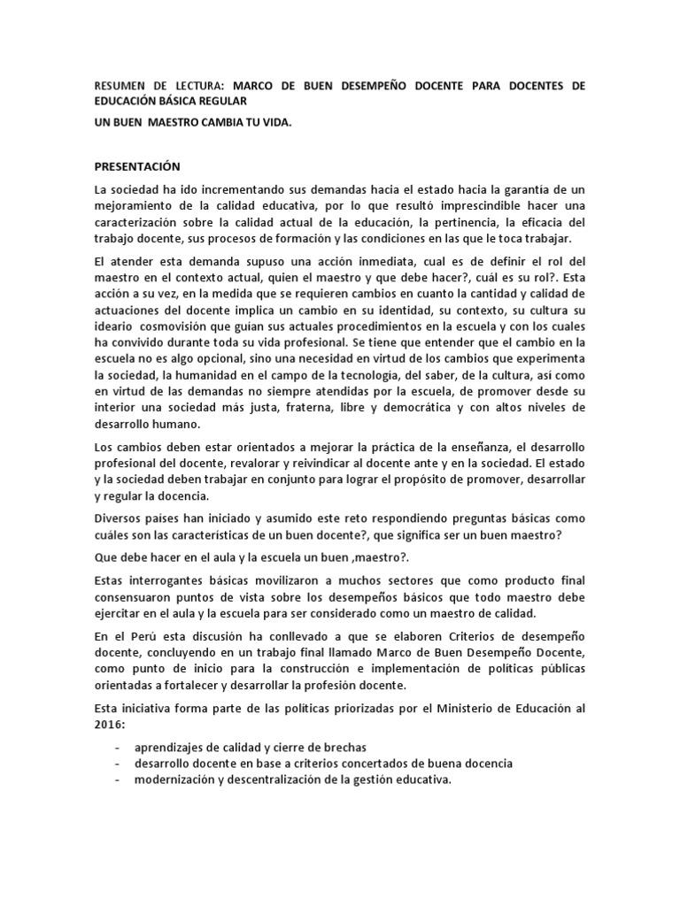 RESUMEN LECTURA MARCO DE BUEN DESEMEPEÑO DOCENTE 2013
