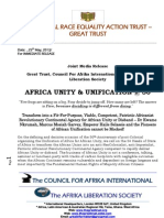GREAT Trust, Council for Afrika International & Afrika Liberation Society Joint Presser on African Unity & African Unification @ 50 and Call for a Fierce Sense of Urgency for a New 21st Century Momentum - May 25th 2013