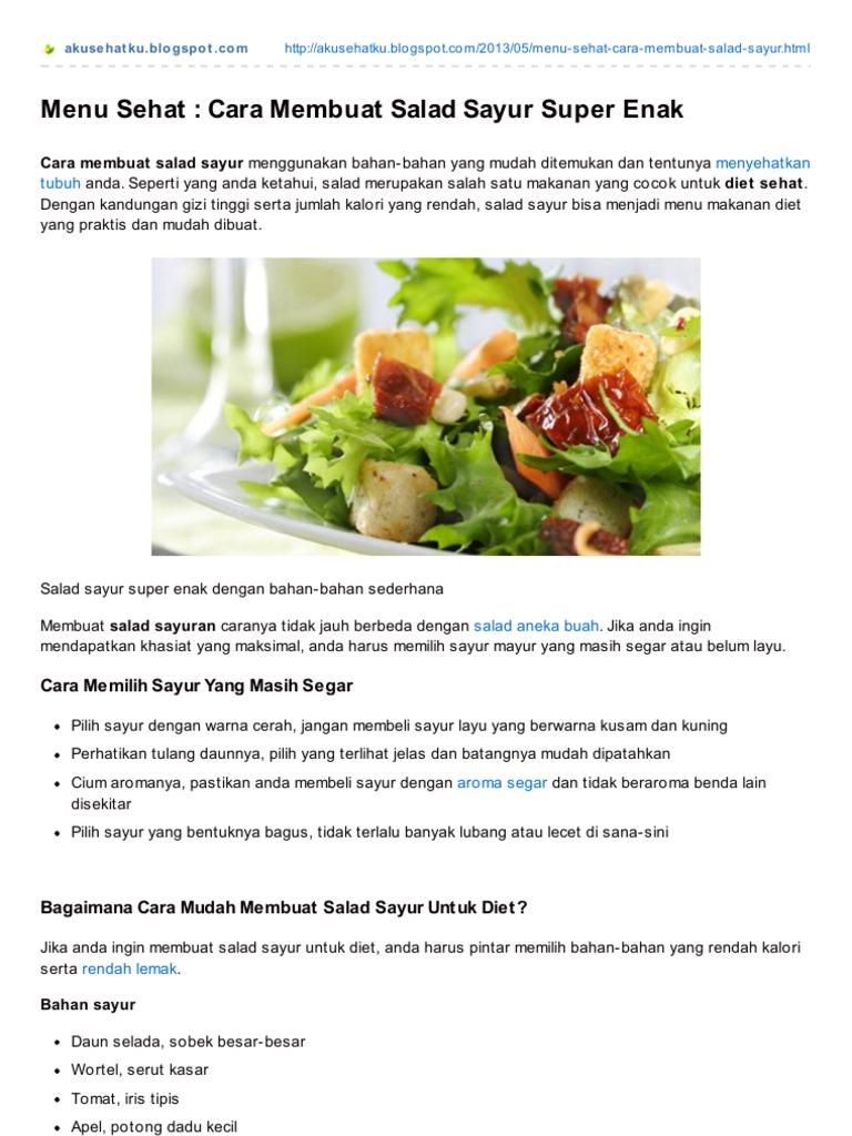 Cara Membuat Salad Sayuran Untuk Diet Sehat