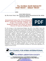 International Labour Day - May 1st 2013 Solidarity Message, Challenge of Sustainable Credible Full Employment Pledge, Call for International Enterprise Literacy & Capacity Building Drive - Joint Media Release by GREAT Trust Et Al