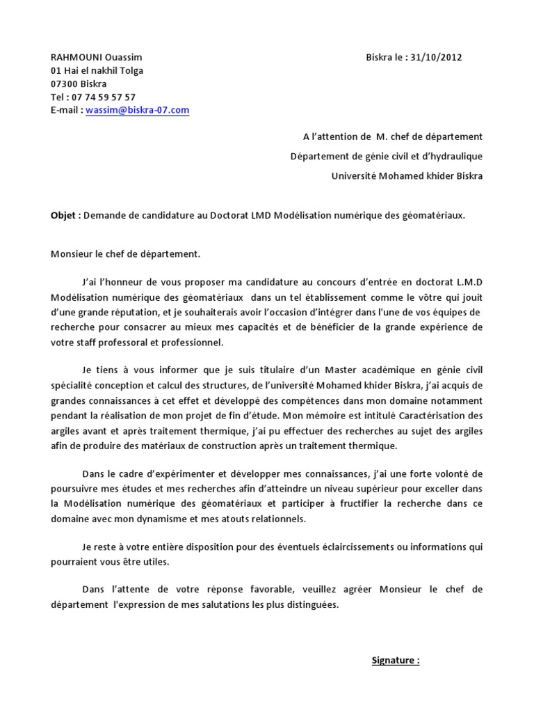 exemple lettre de motivation doctorat