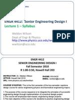 Lecture 1 - Syllabus