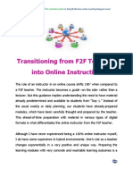 Transitioning From F2F Teaching Into Online Instruction