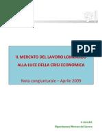 Cisl Lombardia  Rapporto congiunturale lavoro aprile 2009