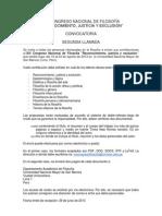 Convocatoria XIV Congreso Nacional de Filosofía (Perú) - Segunda llamada