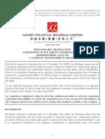 Goldin Financial / Bon Pasteur acquisition / HKex public filing
