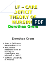 SELF – CARE DEFICIT THEORY OF NURSING