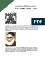 Establishment of All India Muslim League