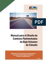 MANUAL PARA DISEÑO DE CAMINOS PAVIMENTADOS DE BAJO VOLUMEN DE TRANSITO
