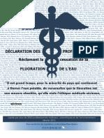 Action Fluor Québec - Déclaration des professionnels Réclamant la cessation de la fluoration de l'eau