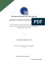 Assessment of Wire EDM Parameters on Aluminum - Wan Ahmad Shahir b. Wan Musa - TJ1191.W33 2009 24 Pages