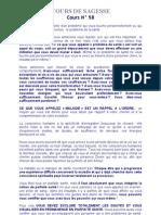 COURS DE SAGESSE N° 58.doc