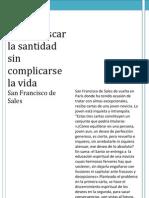 Como Buscar La Santidad Sin Complicarse La Vida (San Francisco de Sales)