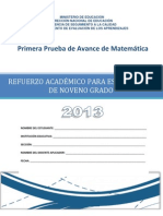 Prueba de Avance de 9 Grado - Matemtica 2013
