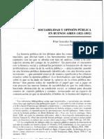 9. Pilar Gonzales Bernaldo. Sociabilidad y opinión pública en Buenos Aires, 1821-1850.