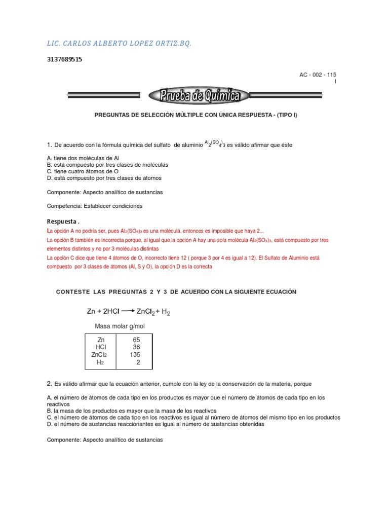 Icfes Quimica Respuestas Resuelto Enlace Quimico Enlace Covalente