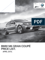 F06 M6 Gran Coupe Price List April2013