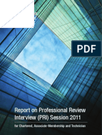 Report on Professional Review Interview Session 2011