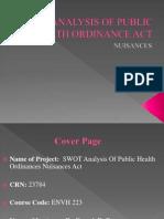 SWOT Analysis Public Health Ordinance