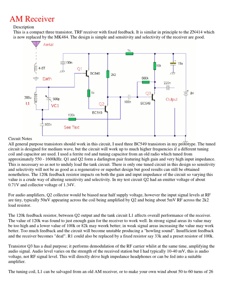 Am Receiver Inductor Amplifier Radio Circuit Design Electronic Project Schematic