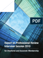 Report on Professional Review Interview Session 2010