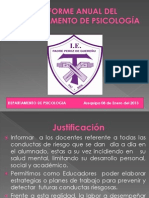 INFORME ANUAL DEL DEPARTAMENTO DE PSICOLOGÍA