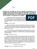 Acuerdo de 4 de Abril de 2013