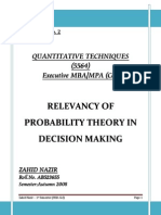 Probability Theory in Decision Making