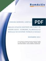 Comuna Moroeni - Analiza Situatiei Existente Din Punct de Vedere Socio-economic, Al Mediului Si Nivelului de Echipare Tehnica Si Sociala