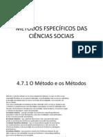 MÉTODOS FSPECÍFICOS DAS CIÊNCIAS SOCIAIS