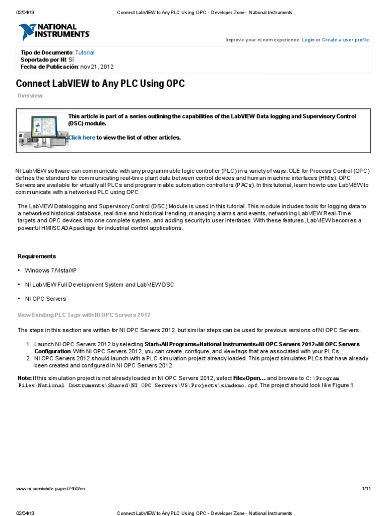 Connect LabVIEW to Any PLC Using OPC - Developer Zone - National ...