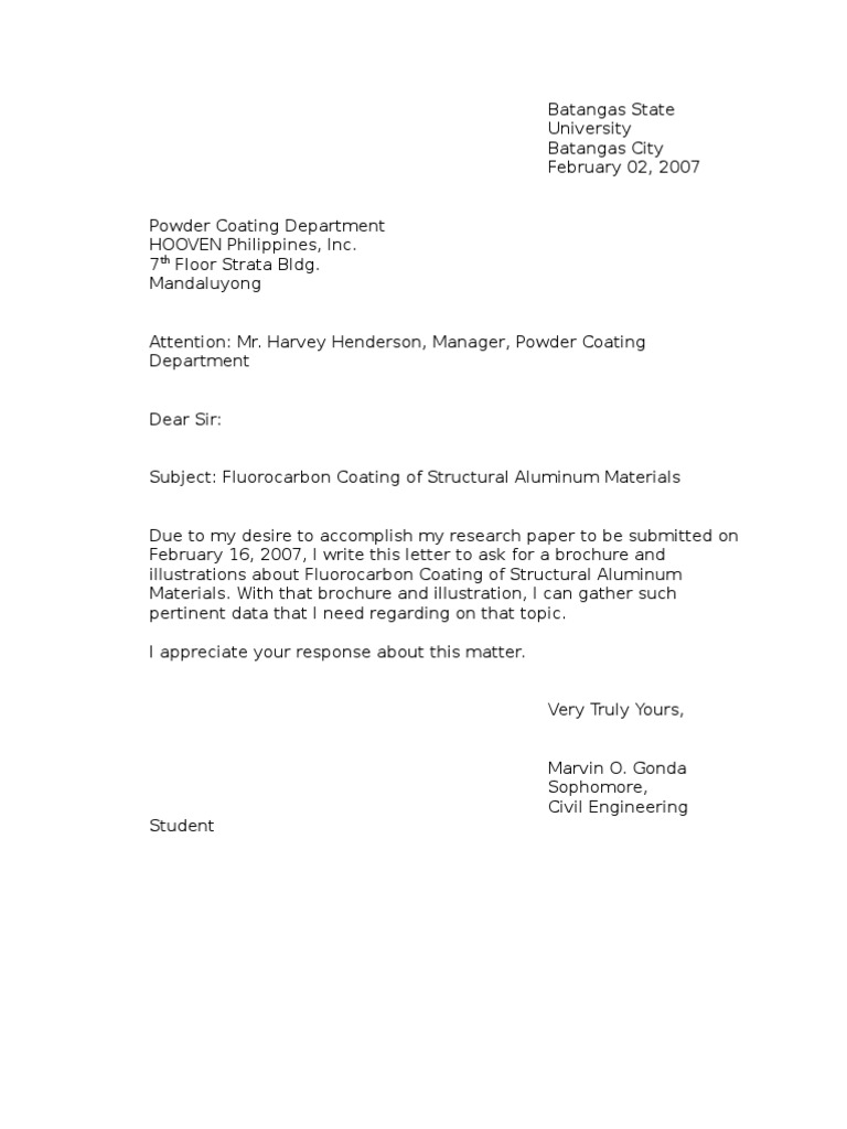 Example Letter of Inquiry – Inquiry Letter Sample for Business