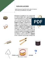 Sopa de lletres instruments de percussió d'afinació indeterminada