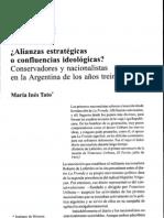 Tato- Alianzas estrategias o confluencias ideologicas- conservadores y nacionalistas en la argentina de los años 30