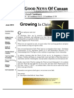 Canaan Baptist Church May Newsletter JUNE 2013 - Growing In Christ