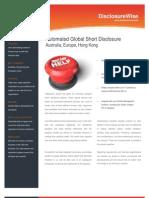 Short Selling Disclosures - DisclosureWise Datasheet