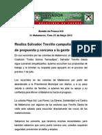 Realiza Salvador Treviño campaña alegre,  de propuesta y cercana a la gente