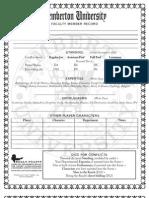 Roach Character Sheet