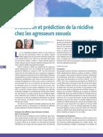 Evaluation et prédiction de la récidive chez les agresseurs sexuels