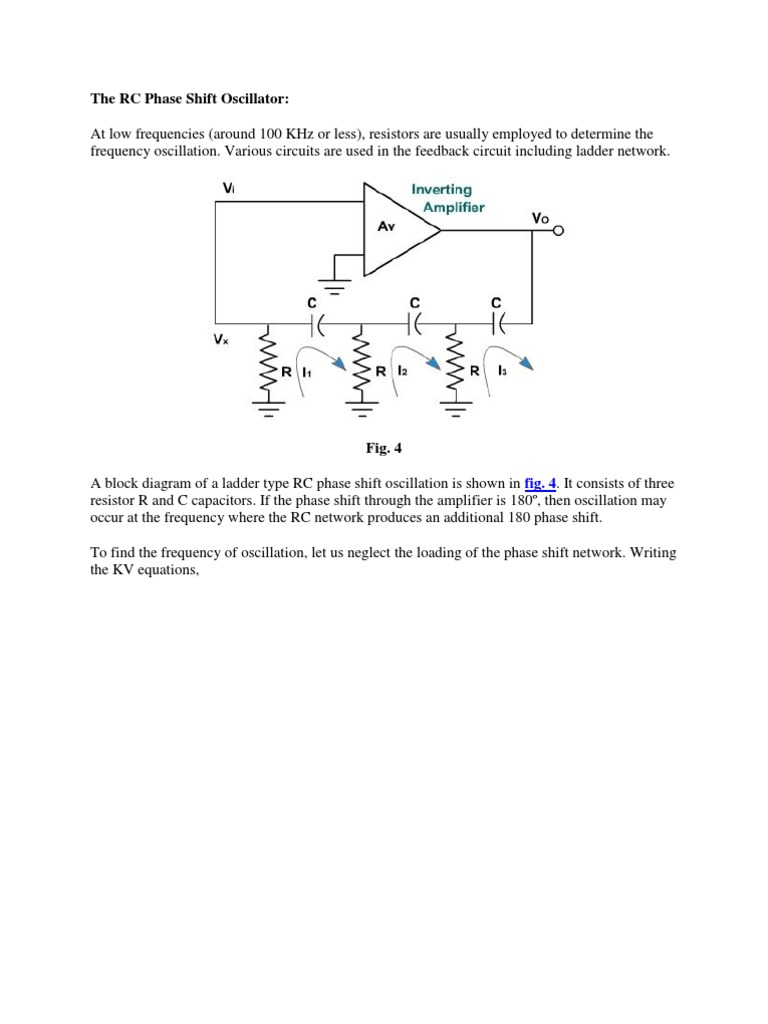 The RC Phase Shift Oscillator | Operational Amplifier