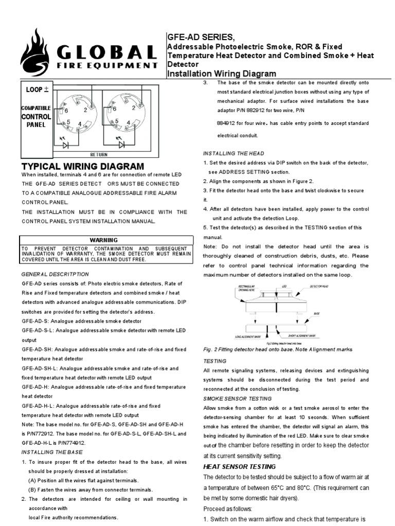 Manual Do Sensor De Incendio Globalfire Ad Series Manual