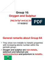 Group 16 Oxygen and Sulphur
